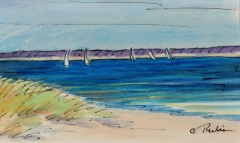 Renee Rubin watercolor on paper Beachfront & Boats